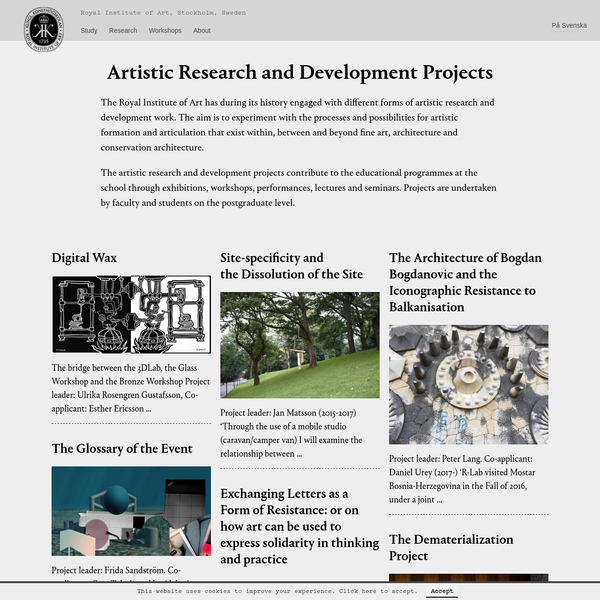 Artistic Research and Development Projects