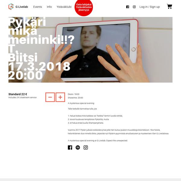 G Livelab: Pykäri mikä meininki!!? T. Biitsi - 17.3.2018 19:00 - G Livelab