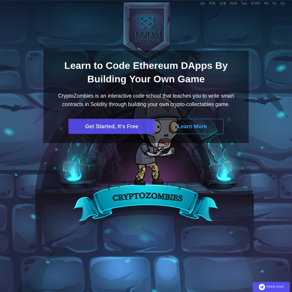 CryptoZombies is an interactive code school that teaches you to write smart contracts in Solidity through building your own crypto-collectables game.