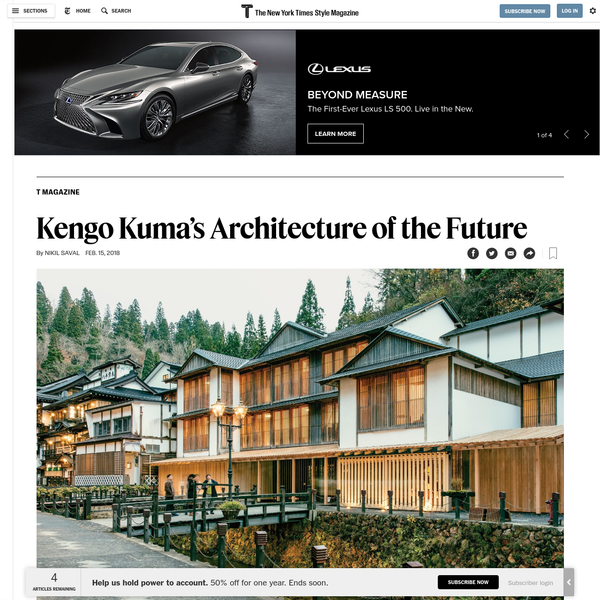 Rejecting flashy forms in favor of buildings in harmony with their environment, the architect - poised to become world famous for his stadium for the 2020 Olympics in Tokyo - is trying to reinvent his entire trade.