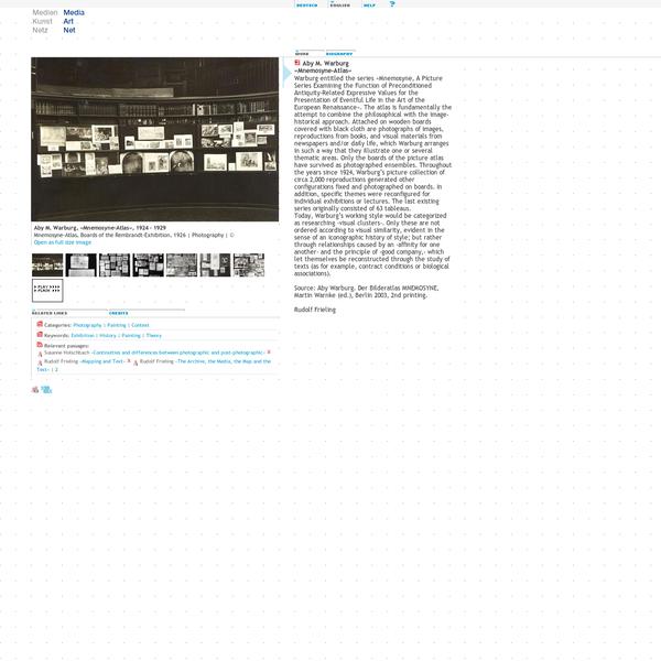 Media Art Net   Warburg, Aby M.: Mnemosyne-Atlas