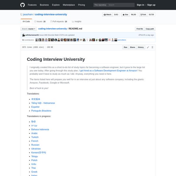 jwasham/coding-interview-university