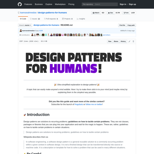 design-patterns-for-humans - Design Patterns for Humans™ - An ultra-simplified explanation