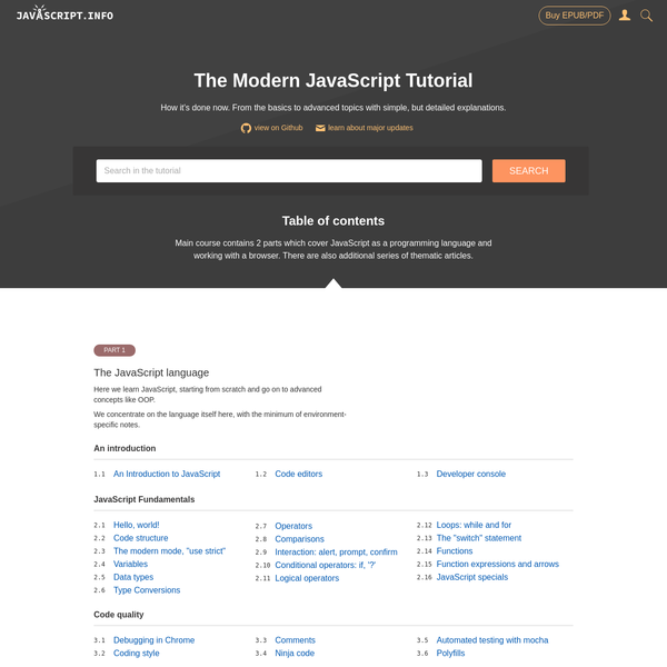 Modern JavaScript Tutorial: simple, but detailed explanations with examples and tasks, including: closures, document and events, object oriented programming and more.