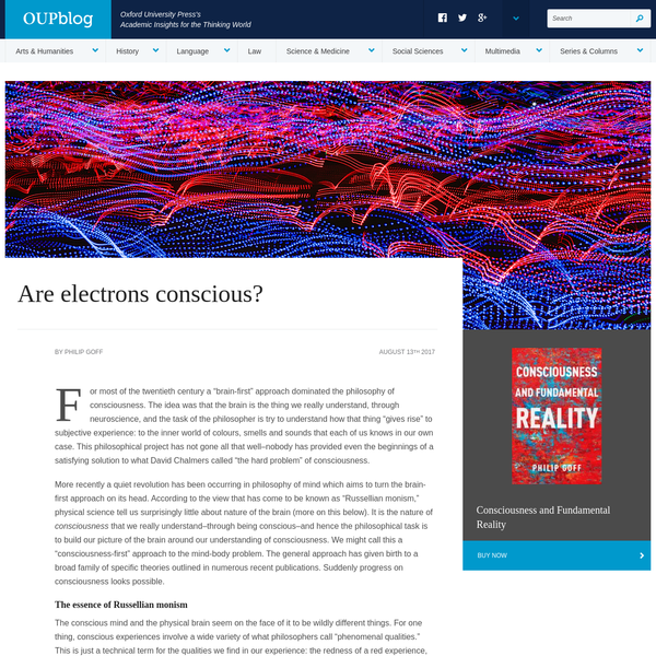 Are electrons conscious? | OUPblog