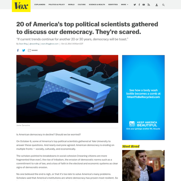Is American democracy in decline? Should we be worried? On October 6, some of America's top political scientists gathered at Yale University to answer these questions. And nearly everyone agreed: American democracy is eroding on multiple fronts - socially, culturally, and economically.