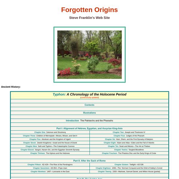 Forgotten Origins: Steve Franklin's Web Site