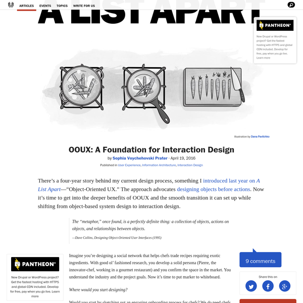 """by Published in Sophia Voychehovski Prater User Experience , Information Architecture , Interaction Design There's a four-year story behind my current design process, something I introduced last year on A List Apart -""""Object-Oriented UX."""" The approach advocates designing objects before actions."""
