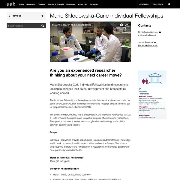 Marie Skłodowska-Curie Individual Fellowships