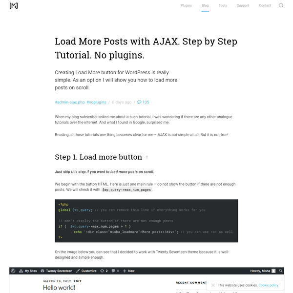Load More Posts with AJAX in WordPress with no plugins.