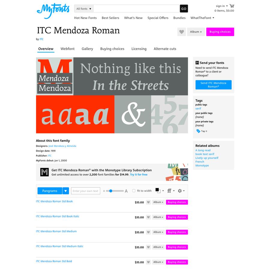 ITC Mendoza Roman® font family, 20 styles from $35.00 by ITC