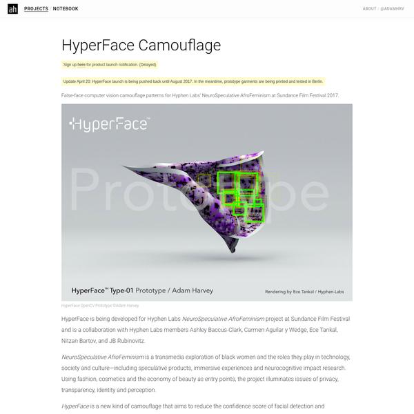 HyperFace Camouflage - Adam Harvey