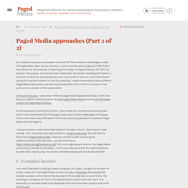 On Tuesday 9 January, some people met at the MIT Press offices in Cambridge to seed the Paged Media Open Source initiative: a suite of JavaScripts to paginate HTML/CSS in the browser for the purposes of exporting print-ready, or display-friendly, PDF from the browser.