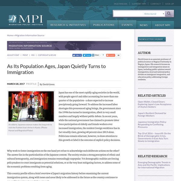 One of the most rapidly aging societies in the world, Japan is looking to immigration to address increased labor shortages-albeit slowly and largely without public debate. This country profile offers a brief overview of Japan's migration history and examines the current immigration system, in particular policies and programs to bring in foreign workers, particularly on a temporary basis.