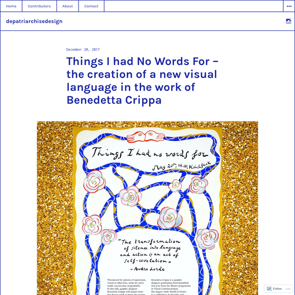 Things I had No Words For - the creation of a new visual language in the work of Benedetta Crippa