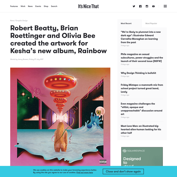 Robert Beatty, Brian Roettinger and Olivia Bee created the artwork for Kesha's new album, Rainbow
