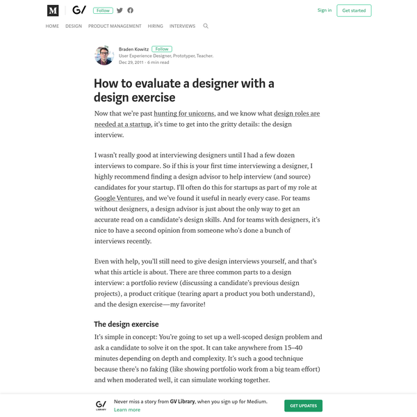 How to evaluate a designer with a design exercise - GV Library