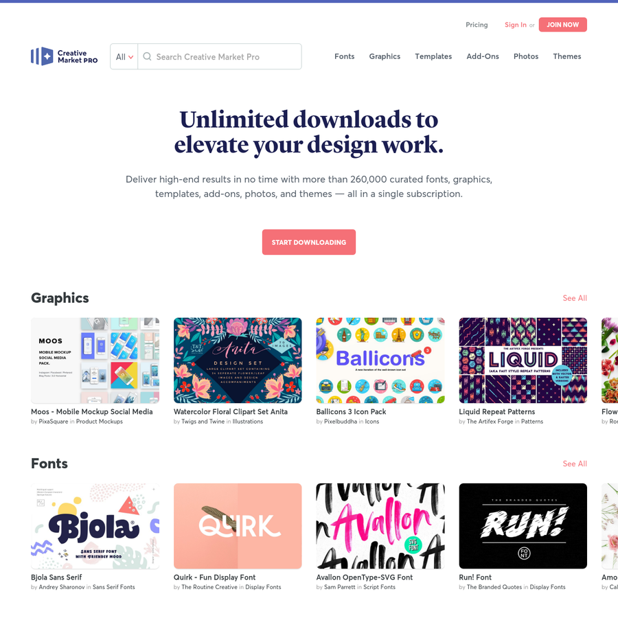 Deliver high-end results in no time with more than 260,000 curated fonts, graphics, templates, add-ons, photos, and themes - all in a single subscription. Get unlimited downloads and speed up your creative process today.