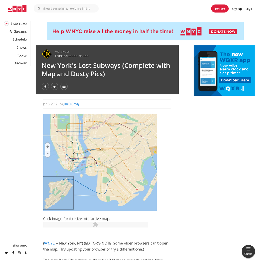 Click image for full size interactive map. // (WNYC -- New York, NY) (EDITOR'S NOTE: Some older browsers can't open the map. Try updating your browser or try a different one.) The New York City subway system has 842 miles of track, making it the largest in North America.