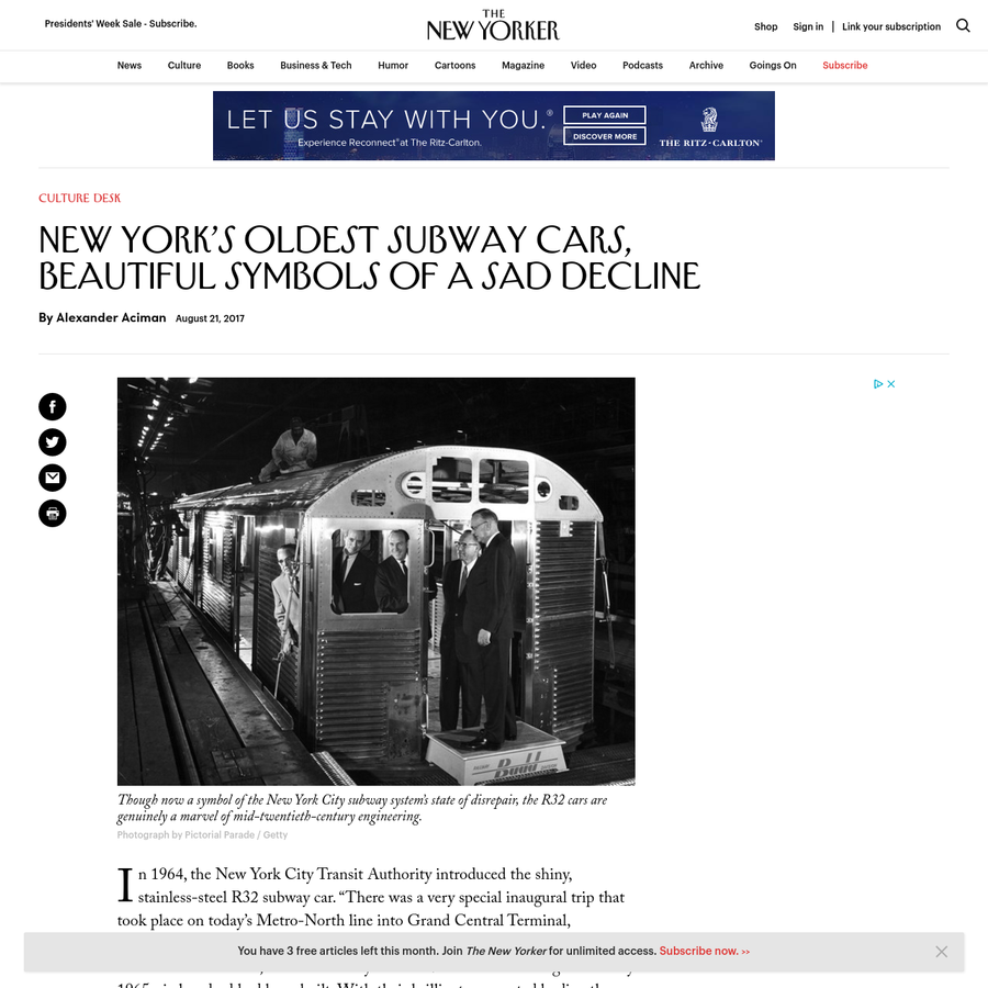 """In 1964, the New York City Transit Authority introduced the shiny, stainless-steel R32 subway car. """"There was a very special inaugural trip that took place on today's Metro-North line into Grand Central Terminal, welcoming the trains into New York,"""" James Giovan, an educator at the New York Transit Museum, told me recently."""