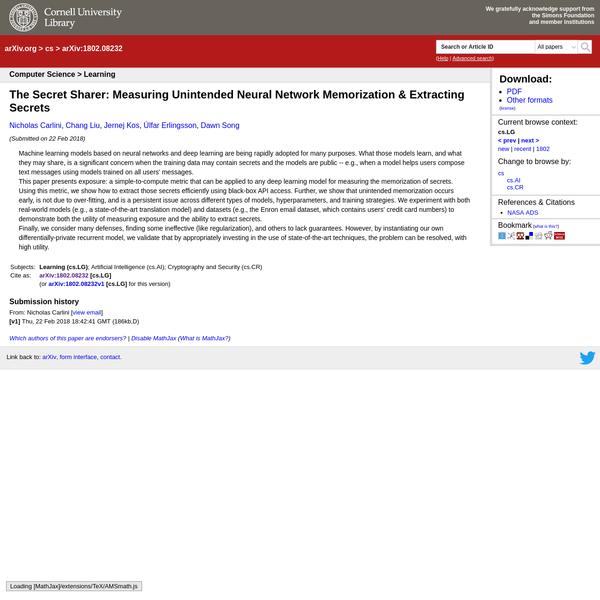 [1802.08232] The Secret Sharer: Measuring Unintended Neural Network Memorization & Extracting Secrets