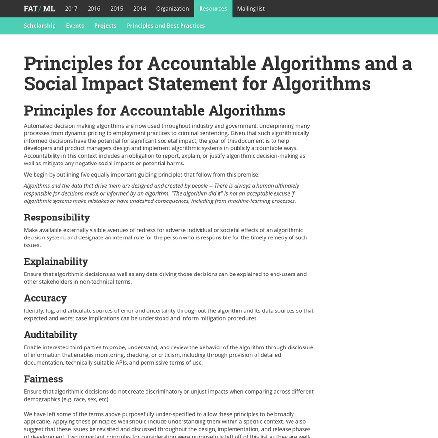 Automated decision making algorithms are now used throughout industry and government, underpinning many processes from dynamic pricing to employment practices to criminal sentencing. Given that such algorithmically informed decisions have the potential for significant societal impact, the goal of this document is to help developers and product managers design and implement algorithmic systems in publicly accountable ways.