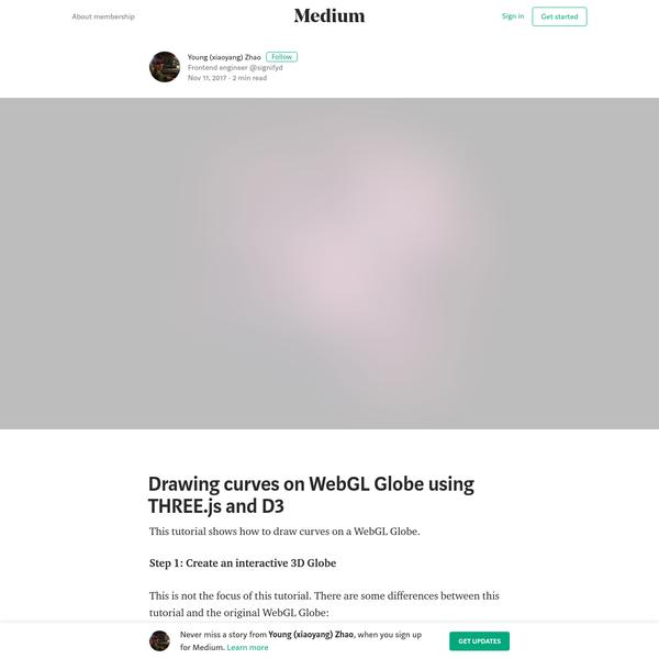 Drawing curves on WebGL Globe using THREE.js and D3
