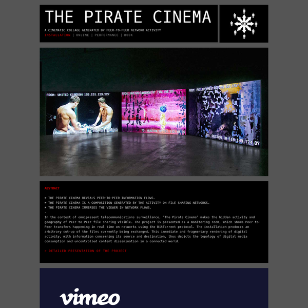 THE PIRATE CINEMA - A CINEMATIC COLLAGE GENERATED BY P2P USERS