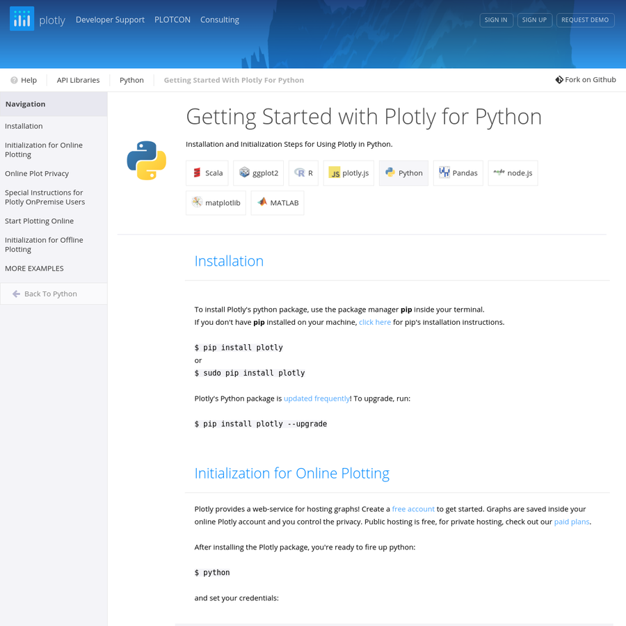 Installation and Initialization Steps for Using Plotly in Python.
