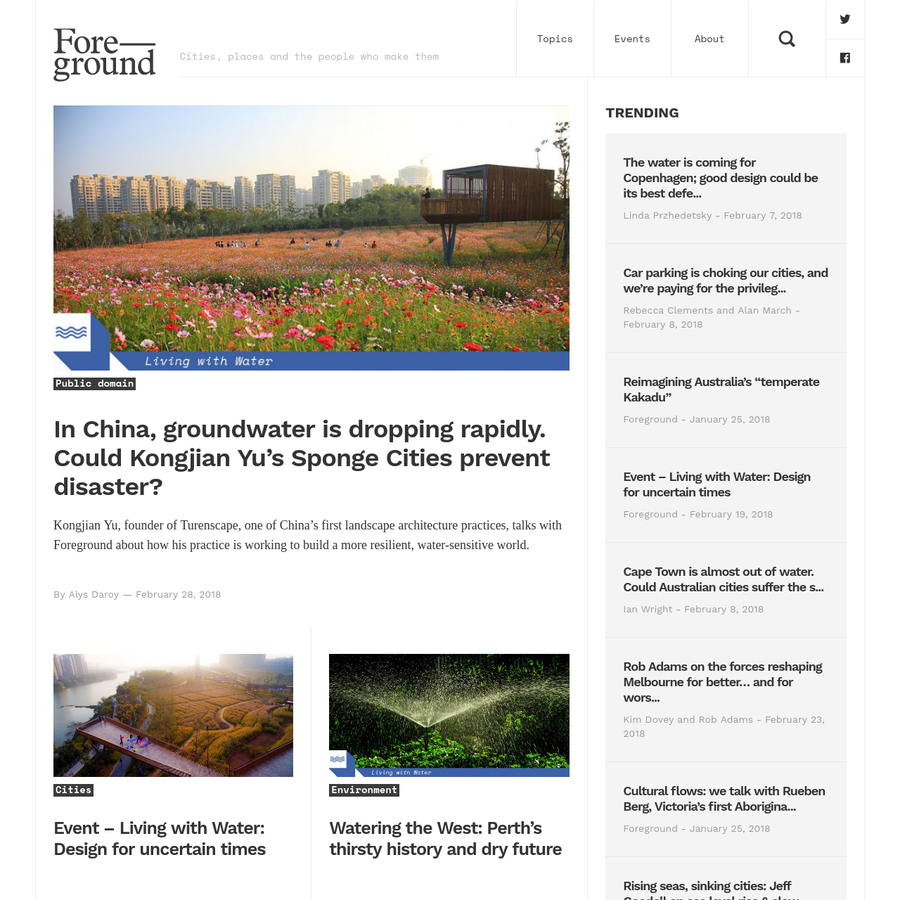 Provides news and analysis on cities, places and the people who create them.