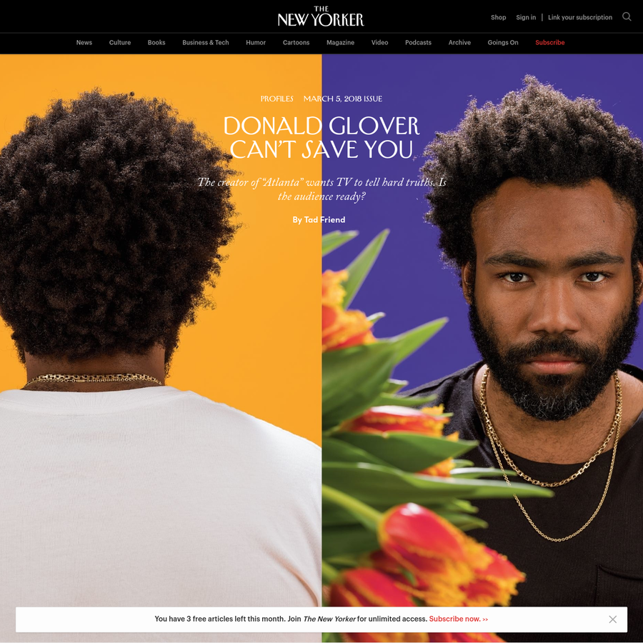 """Donald Glover sat behind the wheel of the Nissan Sentra, his door ajar, and lit a joint. In the scene he'd just finished, for the show """"Atlanta,"""" he'd jammed on the brakes to avoid a wild boar in the road, an apparition that made him wonder just how high he was."""