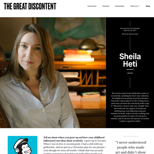 Sheila Heti on The Great Discontent (TGD)