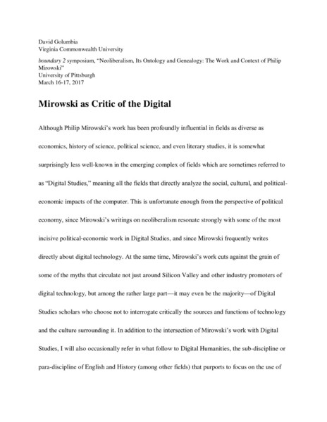 """Transcript of lecture given at boundary 2 symposium, """"Neoliberalism, Its Ontology and Genealogy: The Work and Context of Philip Mirowski,"""" University of Pittsburgh, March 16-17, 2017"""