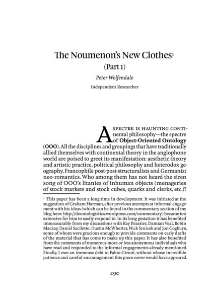 This article, originally published in Speculations journal, would later form the first chapters of a [book](https://www.urbanomic.com/book/object-oriented-philosophy/) of the same title, published by Urbanomic in 2014.