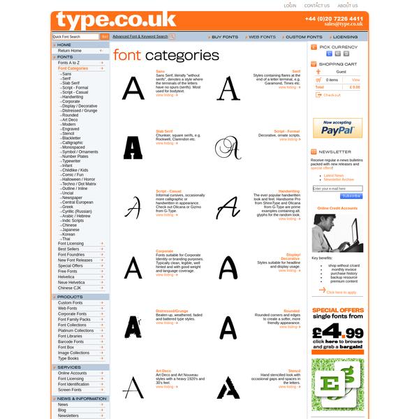 Font Categories | type.co.uk