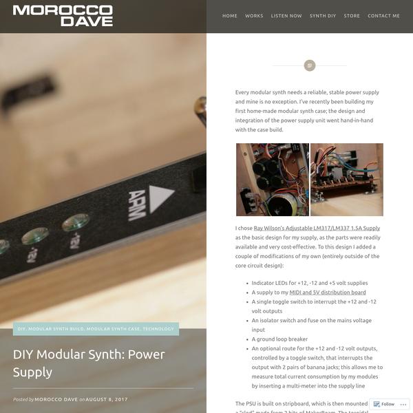 DIY Modular Synth: Power Supply