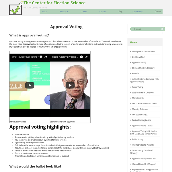 What is approval voting?Approval voting is a single-winner voting method that allows voters to choose any number of candidates. The candidate chosen the most wins. Approval Voting is most often discussed in the context of single-winner elections, but variations using an approval-style ballot can also be applied to multi-winner (at-large) elections.