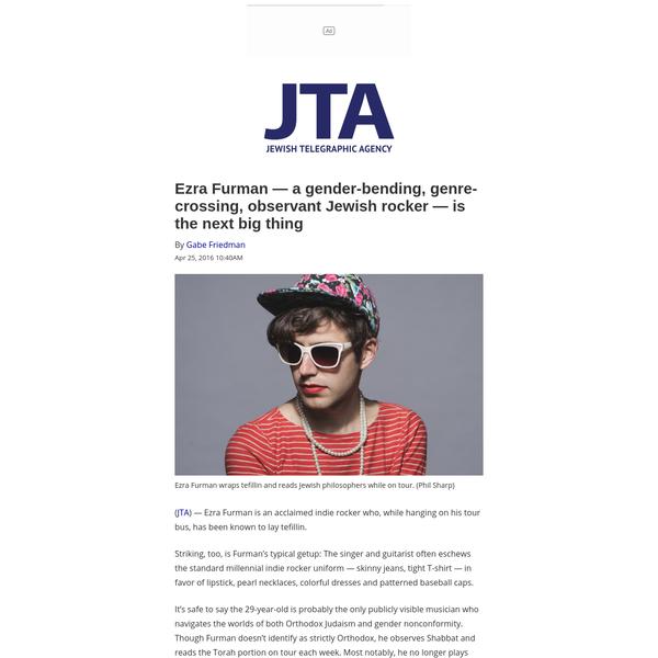 Ezra Furman - a gender-bending, genre-crossing, observant Jewish rocker - is the next big thing