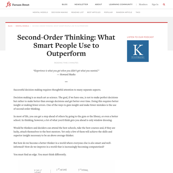 Second-Order Thinking: What Smart People Use to Outperform