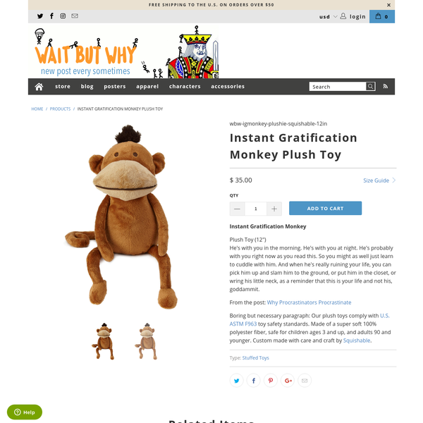 Instant Gratification Monkey Plush Toy