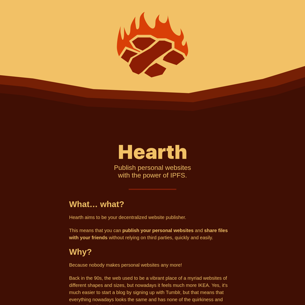 Using Hearth you can publish your personal websites, share any file or folder with just a couple of clicks!