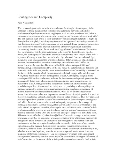 R. Negarestani: Contingency/Complicity