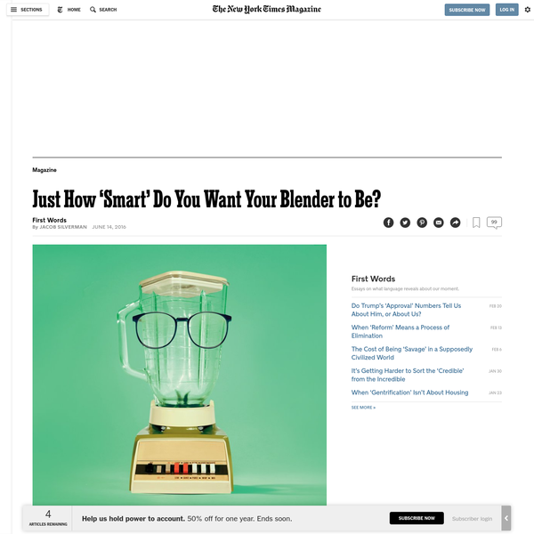 Just How 'Smart' Do You Want Your Blender to Be?