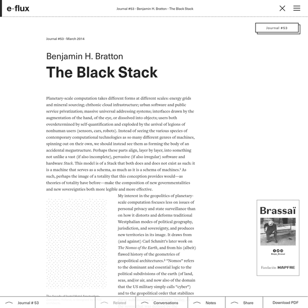 Looking toward the Black Stack, we observe that new forms of governmentality arise through new capacities to tax flows (at ports, at gates, on property, on income, on attention, on clicks, on movement, on electrons, on carbon, and so forth).