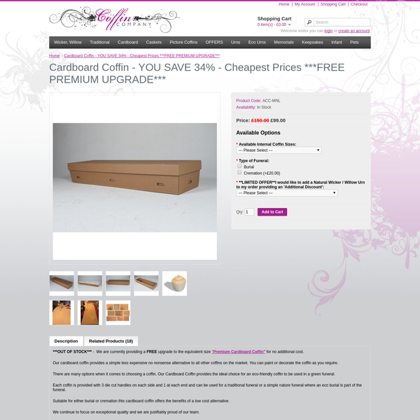 The UK's First direct-to-the-public Online Coffin Shop. Make the SAVINGS direct with a huge stock. Delivered to your home or chosen Funeral Director....