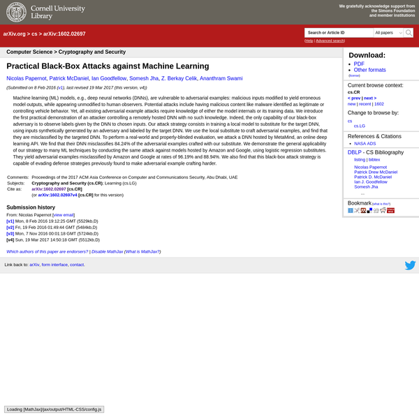 Abstract: Machine learning (ML) models, e.g., deep neural networks (DNNs), are vulnerable to adversarial examples: malicious inputs modified to yield erroneous model outputs, while appearing unmodified to human observers. Potential attacks include having malicious content like malware identified as legitimate or controlling vehicle behavior.