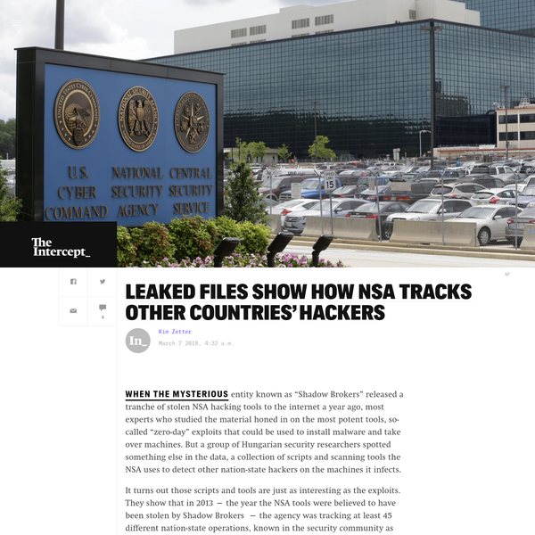 Leaked Files Show How NSA Tracks Other Countries' Hackers