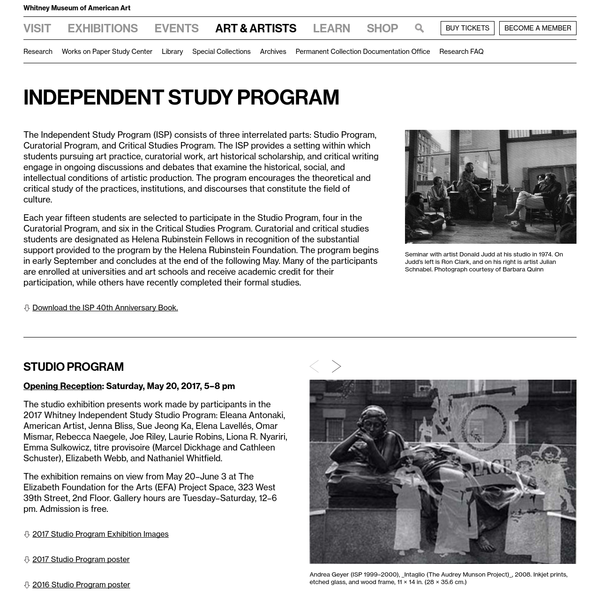 Independent Study Program | Whitney Museum of American Art