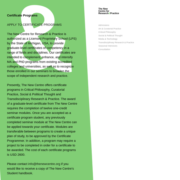 Programs | The New Centre for Research & Practice