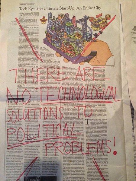 Eu arriscaria dizer que o Bruno Latour talvez discorde: talvez hajam tecnologias cujas características obrigam a uma mudança de política. But then again, talvez esta hipótese e a que está na imagem não sejam incompatíveis.
